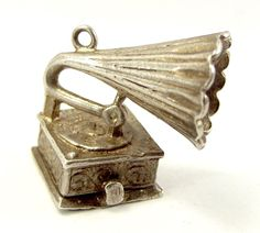 Vintage Silver Charm Gramophone Opens MOUSE