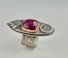 Royal Ruby Sterling and Gold Ring 14k Gold Ring, Gold Rings, Gemstone Rings, Artisan Jewelry, Handmade Jewelry, Metal Jewelry, Precious Metals, Beauty, Design