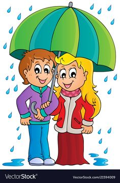 Rainy weather theme image 1 vector image on VectorStock Girl Holding Balloons, Baby Painting, Rainy Weather, Green Hats, Cartoon Drawings, Cute Cartoon, Coloring Books, Images, Clip Art
