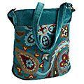 Product Details - Teal & Velvet Embroidered Cross Body Bag