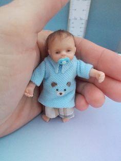 Miniature 1:12th OOAK Toddler Boy Handmade Baby Dollhouse Doll Mini Baby Artist #OOAKDollhouseMiniatureToddlerDoll