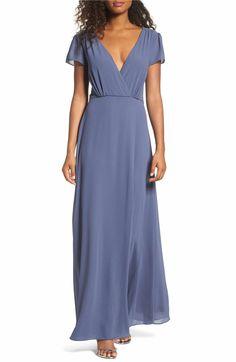 Main Image - Lulus Lace-Up Back Chiffon Gown Slate Blue Bridesmaid Dresses, Blue Chiffon Dresses, Blue Evening Dresses, Chiffon Gown, Bridesmaids, Formal Dresses For Women, A Line Gown, Lace Up, Gowns