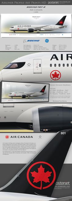 Boeing 787-8 Air Canada C-GHPQ Boeing 787 Dreamliner, Boeing 787 8, Airline Logo, Planes, International Airlines, Cargo Airlines, Commercial Aircraft, Aircraft Design, Bus