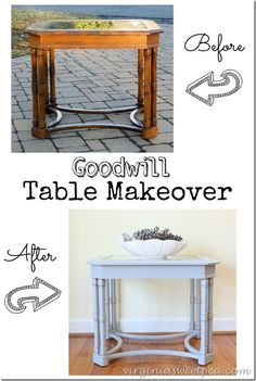 A $12.95 Goodwill Table gets a new look with paint. She's fabulous now! virginiasweetpea.com