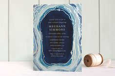 Gilt Agate Foil-Pressed Baby Shower Invitations