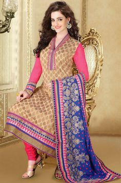 Brown Chikan Work Silk Salwar Style Suit