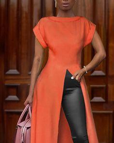 Top de manga larga de color sólido con abertura alta African Print Jumpsuit, African Dress, Latest African Fashion Dresses, African Print Fashion, Trend Fashion, Fashion Outfits, Moda Afro, Mermaid Evening Gown, Sexy Blouse