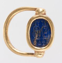 Scarab Finger Ring with the Names of Thutmose III and Hatshepsut    New Kingdom Dynasty: Dynasty 18 Reign: Joint reign of Hatshepsut and Thutmose III Date: ca. 1473–1458 B.C. Geography: Egypt, Upper Egypt; Thebes, Wadi Gabbanat el-Qurud, Tomb of the 3 Foreign Wives of Thutmose III, Wadi D, Tomb 1 Medium: Gold, lapis lazuli Dimensions: Diam. 2.5 cm (1 in); l. of scarab 1.5 cm (9/16 in)