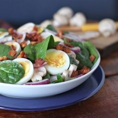 Spinach Salad with Hot Bacon Dressing.