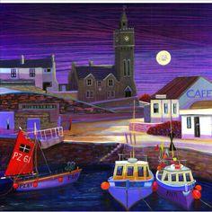 Porthleven-NIGHT St Just, Seaside Art, Sailboat Painting, Time Painting, Expressive Art, A Level Art, Magic Art, Naive Art, Art For Art Sake
