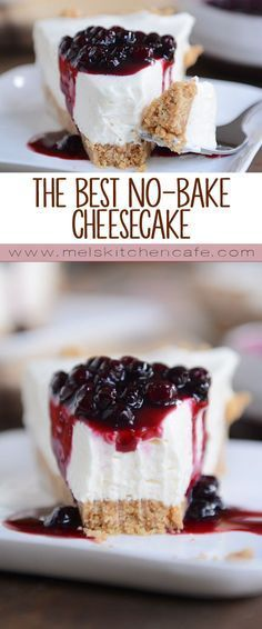 The Best No-Bake Cheesecake Get the recipe for this classic and simple no-bake cheesecake! Rich and creamy, it really is the best no-bake cheesecake ever! - This really is the best no-bake cheesecake on the planet. No Bake Vanilla Cheesecake, Baked Cheesecake Recipe, Cheesecake Cake, Simple No Bake Cheesecake, Cream Cheese Cheesecake, No Bale Cheesecake, Summer Cheesecake, Cream Cheese Pie, Classic Cheesecake