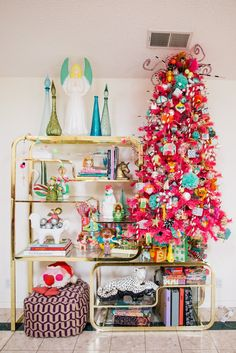 House Tour A Home With Colorful Christmas Trees Apartment Therapy Happy New Year Bohemian Christmas, Whimsical Christmas, Colorful Christmas Tree, Christmas Love, Vintage Christmas, Christmas Holidays, Christmas Crafts, Christmas Trees, Xmas