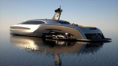 "The Sovereign Superyacht, a product of Gray Design, is a 2,000 metric ton, unfathomably luxurious, 100ft mega yacht.     Its exterior is inspired from modern automotive design, and almost apes some kind of ""executive submarine""."