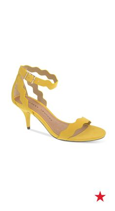 Add a pop of color to your graduation day look. These yellow Chinese Laundry dress sandals are cute and comfortable thanks to a low heel that makes walking up to grab your diploma a breeze. Summer Wear, Summer Shoes, Spring Summer Fashion, Dress Sandals, Shoes Sandals, Flats, Laundry Dresses, Yellow Sandals, Scalloped Dress