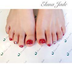 #ネイル#ネイルアート#ネイルデザイン#オーガニックサロン#gel nail#ジェル#麻布十番#foot #footnail#レッド