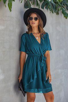 Hualong Cute V Neck Ruffle Lake Blue Short Sleeve Midi Wrap Dress 3 Blue Dresses, Short Dresses, Prom Dresses, Wrap Dress Short, Mini Vestidos, Necklines For Dresses, Stunning Dresses, Summer Dresses For Women, Short Outfits