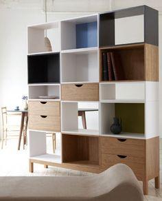 Children's Bookshelf Vogue Carpenter Robot Floor Bookcase With 7 Cubes Wooden
