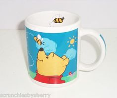 Disney Winnie the Pooh & Hunny Bees Blue Coffee Mug Cup