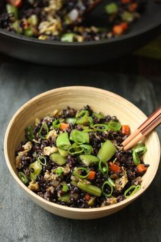 Fried Forbidden Black Rice Recipe with Snap Peas and Scallions | Gluten-Free | Healthy Chinese #MeatlessMonday