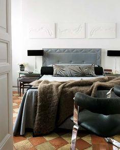 Masculine Bedroom. #upholstered #headboard and #furthrow