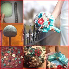 DIY Broach Bouquet - made with a styrofoam ball, NOT wire wrapped broaches. Use a 6 inch foam ball and cut 1/3 off. Use a piece of PVC pipe for the handle. Cover the top with hot glue and push as far as possible into the foam. Open each broach and push the pin down into the foam, then hot glue to secure. Use rhinestones and small silk flowers to fill in open spots. Cut 8 inch strips of ribbon and secure with a rubber band under the bouquet then use hot glue and wrap the pipe in same ribbon.