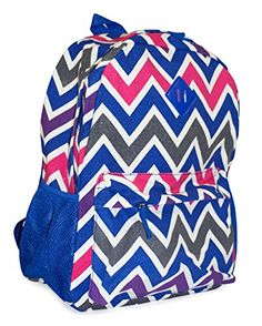 Ever Moda Royal Blue Chevron Print Canvas Backpack 16inch >>> Click on the image for additional details.