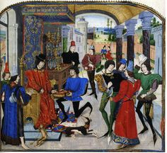 "Charles the Bold receiving the presentation copy of the book in a ""chambre á parer"" with an enclosed garden in the background. Note the sideboard with masses of plate, the chained monkey, the dog at the duke's feet, and two men standing about with falcons. Miniature by Loyset Liédet c. 1468-79. Presentation page of Vasco de Lucena's trans. of Quintus Curtius's Livre des fais d'Alexandre le grant (Paris, BN MS fr. 22547, f. 1)"
