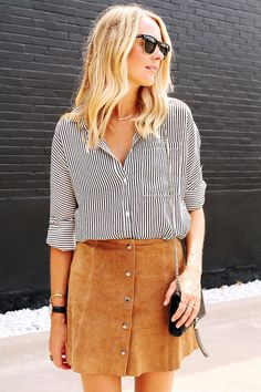 Fashion Jackson shows how to wear a button front suede skirt for fall with lace up flats and a black & white striped blouse. Skirt Outfits, Casual Outfits, Cute Outfits, Summer Outfits, Skirt Fashion, Fashion Outfits, Style Fashion, Fashion Trends, Looks Pinterest