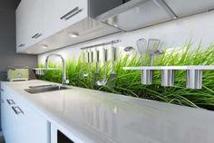 płytki szklane meble na wysoki połysk nowoczesna kuchnia