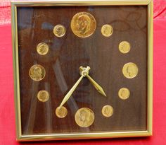 Rare Professionally Produce Gold Colored Bi-Centennial Coin Clock In Brass and Glass Case      00384 by NWAttic on Etsy https://www.etsy.com/listing/240492246/rare-professionally-produce-gold-colored