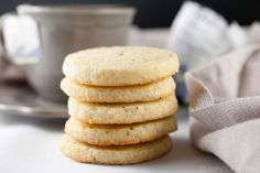 No-roll sugar cookies infused with Earl Grey tea with a crisp sugared edge. Rolled Sugar Cookies, No Bake Cookies, Vanilla Syrup, Earl Grey Tea, Dessert Recipes, Desserts, Baking Pans, Cookie Dough, Crisp