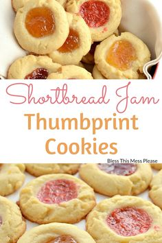 Shortbread Jam Thumbprint Cookies ~ The cookie base is a tender, sweet, and buttery shortbread cookie and it's made fancy (and pretty) by the addition of a bit of jam to the center right before baking(Butter Cookies With Jam) Holiday Cookie Recipes, Easy Cookie Recipes, Holiday Baking, Dessert Recipes, Fun Recipes, Cookie Desserts, Christmas Baking, Appetizer Recipes, Sweets