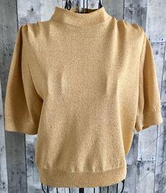 Vintage St John Marie Gray Gold Metallic Knit Sweater Top Zipper Pleated Medium #StJohn #Vintage