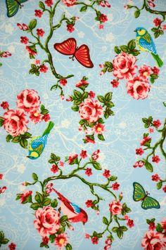 Gordijnstof 3375 (Be. 1435 Daisy vogel l.blauw)