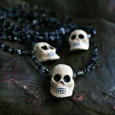 Mexican Sugar Skulls Ceramics Bones Skulls by dembones on Etsy Mexican Sugar Skulls, Skull Wedding, Skull Necklace, Beaded Skull, Day Of The Dead, Black Glass, Raven, Wind Chimes, Vintage Black