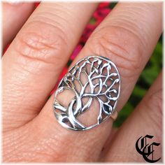 Size 9 CELTIC BRAID TREE of LIFE RING Sterling Silver Wicca Pagan Witch Jewelry