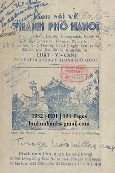 Nói Về Thành Phố Hà Nội (NXB Nhật Nam 1932) - Nhiều Tác Giả, 131 Trang | Sách Việt Nam Hanoi, Bongs, Pho, Girly, Women's, Girly Girl, Pipes And Bongs