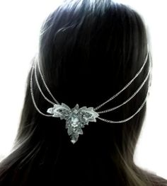 vintage bridal hair chain, lace and silver embelishment wedding hair chain, vintage inspired. £49.99, via Etsy.