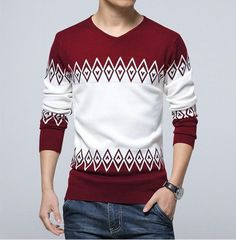 2016 men's boutique quality slim fit v-neck knitting a sweater/Male color matching leisure Set head sweater/men Knit shirt Mens Fashion Sweaters, Sweater Fashion, Fall Sweaters, Casual Sweaters, Knitting Sweaters, Pullover Sweaters, Gents Sweater, Pullover Pink, Clothes 2018