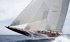 J-Boat - Large Sailing Yachts.designed between 1930 and elegant sailboat design ever. Classic Sailing, Classic Yachts, Catamaran, J Class Yacht, Sailboat Racing, Yacht Boat, Sail Away, Set Sail, Wooden Boats