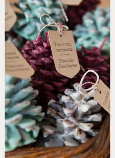 The perfect DIY fall wedding favors to warm your guests up; learn how easy it is to make these pine cone fire starter favors at https://moncheribridals.com/diy-wedding-ideas/diy-pinecone-fire-starter-wedding-favors/