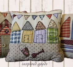 NEW Seaside Patchwork Cushion & Cover Nautical Beach Huts & Bunting - Red & Blue | eBay