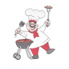 cute chef with charcoal grill bbq barbecue burger spatula red pants red scarf filled machine embroidery design