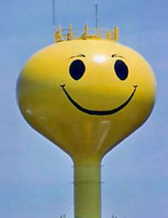 Wacky water towers: This water tower in Millington, Mich., is one of at least 26 smiley-faced water towers across the country
