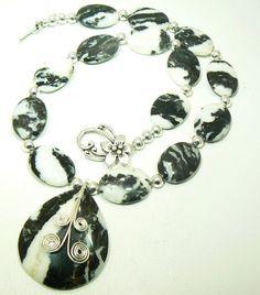 Dramatic  Black and White Zebra Jasper necklace by 3cedarsjewelry, $152.00