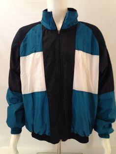 Men's Vintage Tracksuit Jacket 100% Nylon Shell Multi-Color Size L MacGregor EUC $32 Kaylins Collection Store
