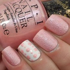 sparkling-pink-glitter-nails-with-polka-dots-1