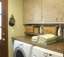 Solid Countertop Across The Top Of Washer/dryer Set U0026 Add A Smaller Shelf  Right Above It For The Quick Access Items Like Detergent And Dryer Sheets.