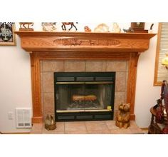 Fireplace Mantle With Wood Carving