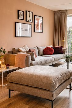Living Room Inspo, Elegant Living Room Decor, Grey Sofa Living Room, Living Dining Room, Living Room Orange, Home And Living, Elegant Living Room, Home Decor, House Interior